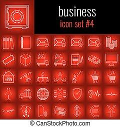 ensemble, backgrpund., gradient, business., 4., ligne blanche, rouges, icône