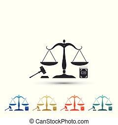 ensemble, balances, marteau, design., isolé, légal, arrière-plan., livre, blanc, plat, éléments, symbole, symbole., illustration, icons., droit & loi, icône, coloré, enchère, justice, justice., vecteur