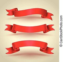 ensemble, bannière, ruban rouge