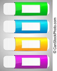 ensemble, bannière, template., coloré, options