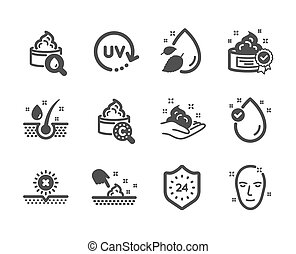 ensemble, beauté, non, icônes, vecteur, soleil, peau, tel, care., humidité