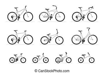 ensemble, bicycles, différent