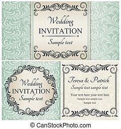 ensemble, bleu, baroque, invitation mariage