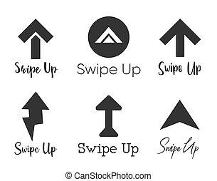 ensemble, blogger., histoires, conception, isolé, flèche ascendante, icône, pictogram., logo, fond, rouleau, swipe