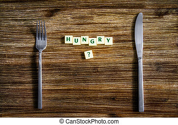 ensemble, bois, question, affamé, argenterie, table