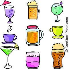 ensemble, boisson, illustration, vecteur, divers, doodles