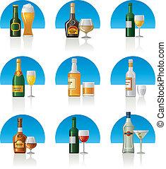 ensemble, boissons, alcool, icône