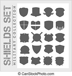 ensemble, bouclier, icônes, -, cadres, militaire, boucliers