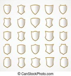 ensemble, bouclier, shapes., conception, divers, argent