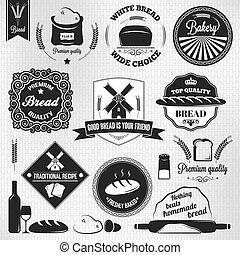ensemble, boulangerie, étiquettes, vendange, pain