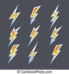 ensemble, boulons, icônes, électricité, zigzag, éclair, ou
