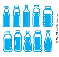ensemble, bouteille, plastique