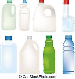 ensemble, bouteille, vecteur, plastique