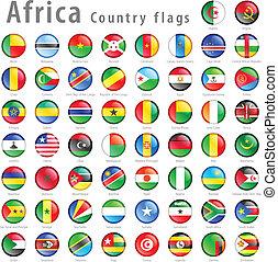 ensemble, bouton, drapeau, vecteur, africaine, national