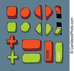 ensemble, bouton, main, (color), internet, dessiné