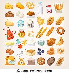 ensemble, bread., ingrédients, cuisine, icons., boulangerie
