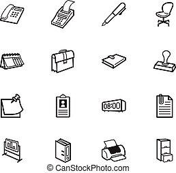 ensemble, bureau, élément, vecteur, arrière-plan noir, blanc, icône