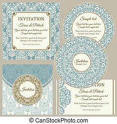 ensemble, business, classique, invitations, cartes, ou