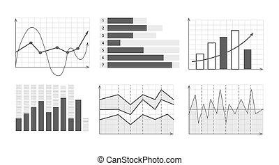 ensemble, business, diagrammes, illustration, vecteur, graphiques