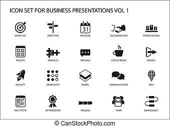 ensemble, business, générique, présentations, diapositives, drapeau, vecteur, conception, icône, réutilisable