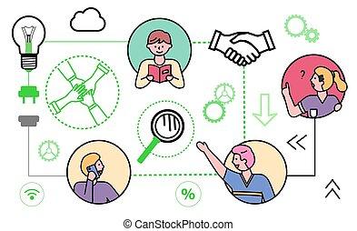 ensemble, business, ligne, gens, icônes, connexion