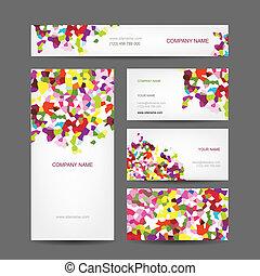 ensemble, business, résumé, créatif, conception, cartes