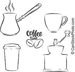 ensemble café, tasse, collection., broyeur, contours., grande tasse, objets, papier, vendange, grunge, pot