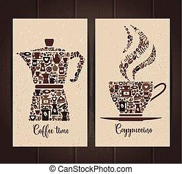 ensemble café, tasse, pot, icons., layout., petit, bannières, icône