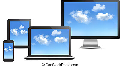 ensemble, calculer, concept., informatique, vector., devices., nuage
