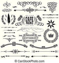 ensemble, calligraphic, décoration, elements:, vecteur, conception, étiquette, page