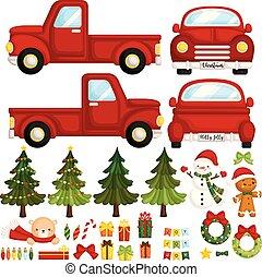 ensemble, camion, articles, mignon, noël, rouges, vecteur