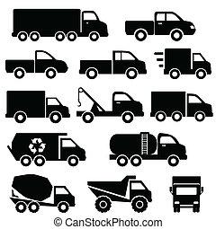 ensemble, camions, icône