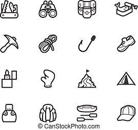 ensemble, camping, élément, vecteur, arrière-plan noir, blanc, icône