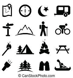 ensemble, camping, icône