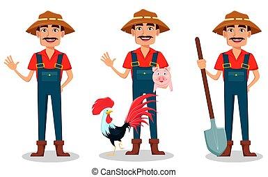 ensemble, caractère, dessin animé, paysan