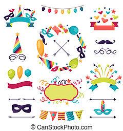 ensemble, carnaval, icônes, décorations, objects., célébration