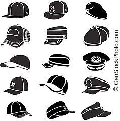 ensemble, casquette, isolé, vecteur, base-ball, rap, chapeau blanc, icône