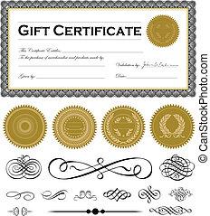 ensemble, certificat, cadre, sombre, vecteur, ornements