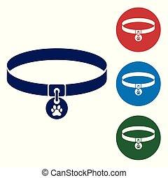 ensemble, chains., couleur, conjugal, étiquette, bleu, patte, chouchou, isolé, arrière-plan., fournitures, blanc, icône, buttons., illustration, animal., collier, print., nom, chien, chat, vecteur, cercle, care., ou