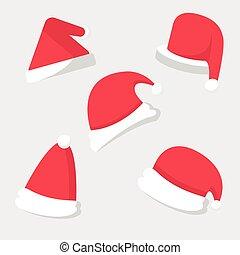 ensemble, chapeau, noël, santa, célébration