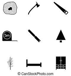 ensemble, charpentier, icône