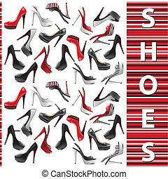 ensemble, chaussures, femme