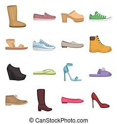 ensemble, chaussures, icônes, grand, symbole., collection, style., vecteur, illustration, dessin animé