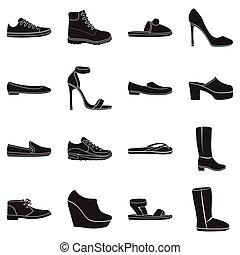 ensemble, chaussures, icônes, grand, symbole, collection, vecteur, noir, illustration, style., stockage