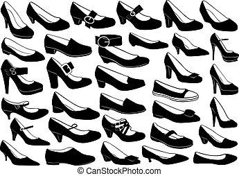 ensemble, chaussures, illustration