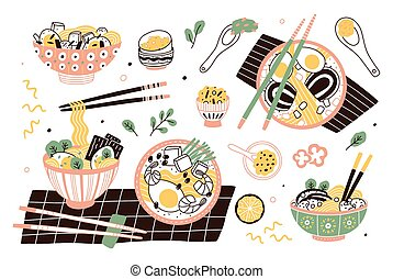 ensemble, chinois, japonaise, bols, savoureux, asiatique, délicieux, baguettes., ragoût, nouilles, plat, broth., paquet, nourriture., collection, ramen, dessin animé, illustration., repas, traditionnel, soupe, vecteur, ou
