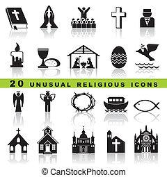 ensemble, chrétien, icônes