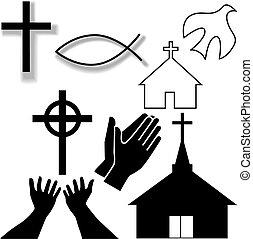ensemble, chrétien, icônes, symbole, autre, église