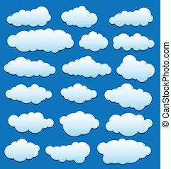 ensemble, ciel, vecteur, nuages