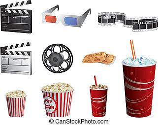 ensemble, cinéma, isolé, symboles, vecteur, blanc